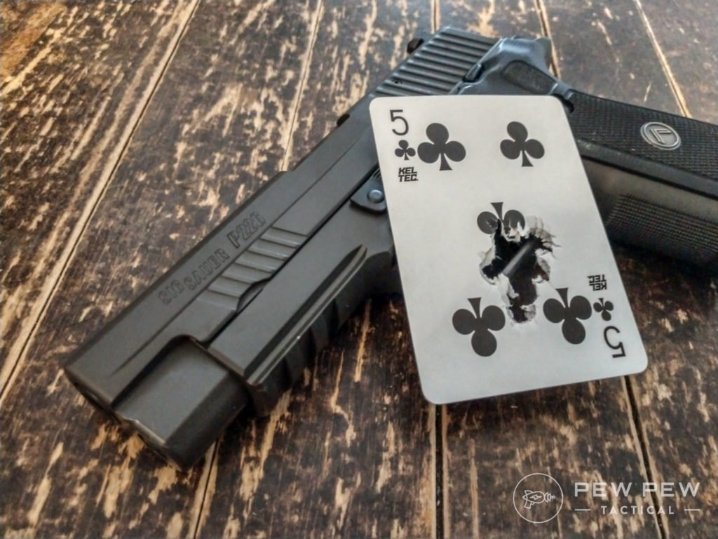 Playing card drill, anyone? The SIG P226 Legion produced this beautiful ten-round playing card drill the first magazine through the Slickgun.