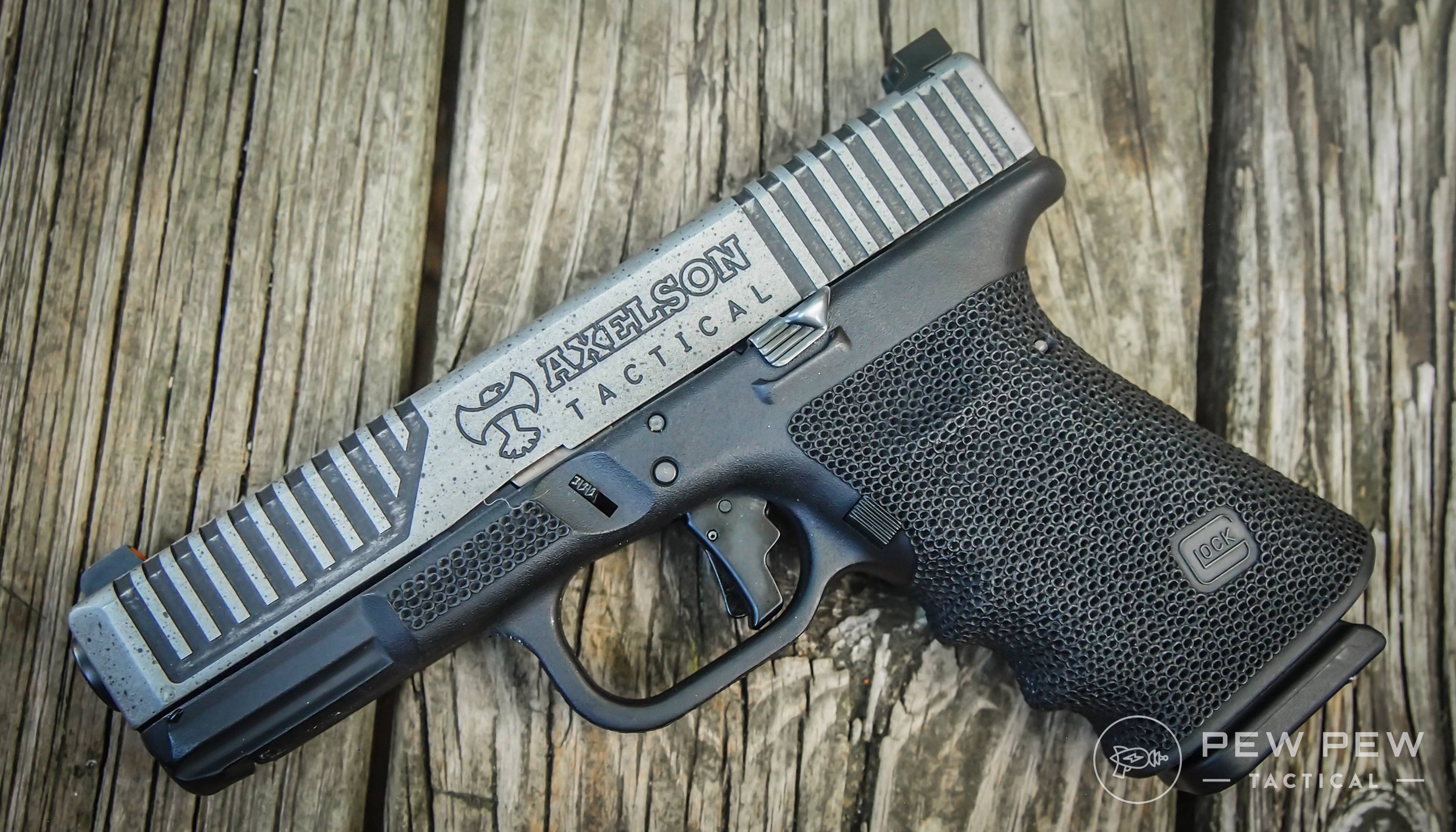 The Glock 19 is the compact version of the Glock 17. (Pictured: Custom Axelson Tactical Axe 19)