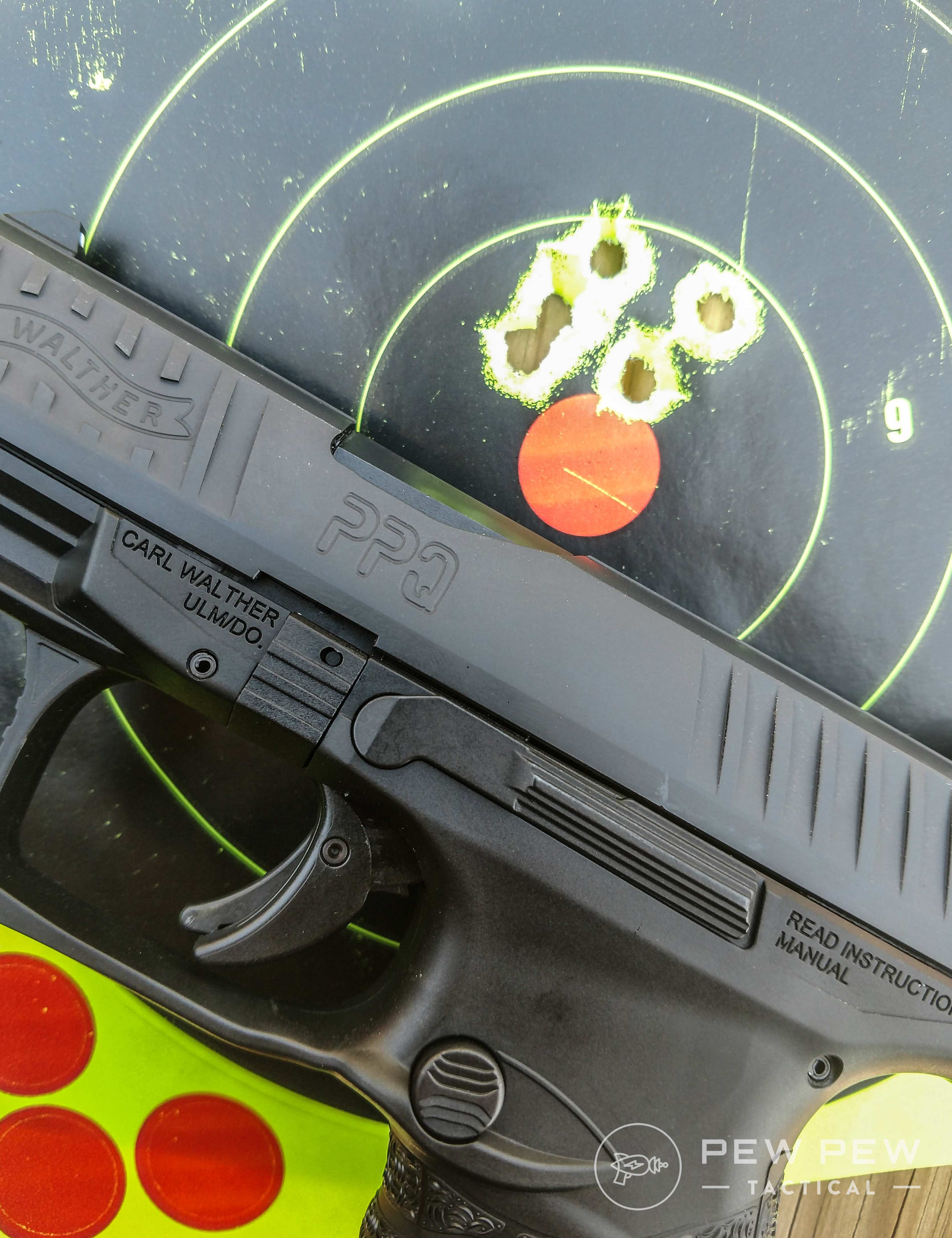 The Walther PPQ might not be pretty but it is an excellent carry gun. This group was nailed slow-fire at a distance of ten yards.