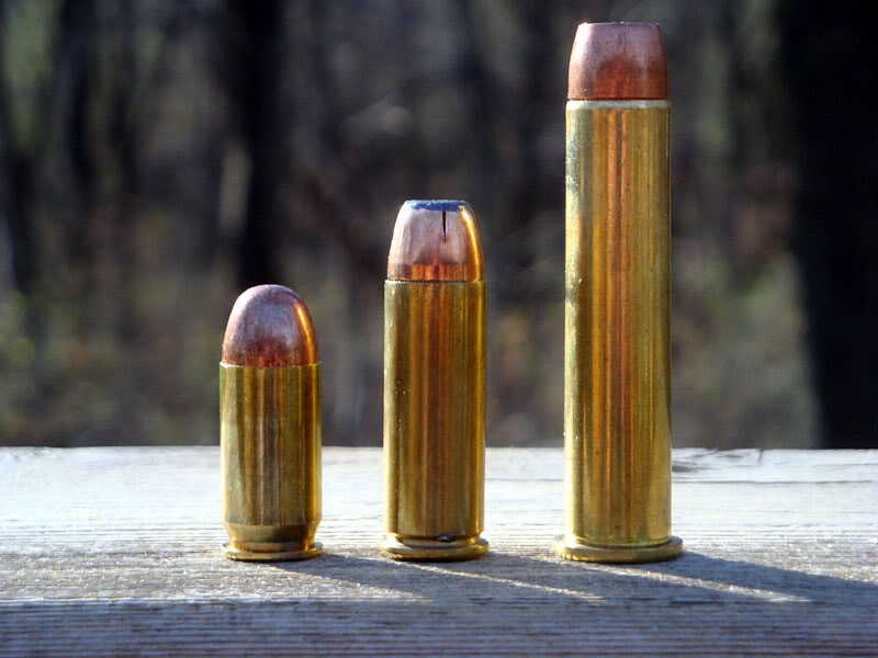 (L to R), .45 ACP, .45 Long Colt, .45-70, Lurking Rythmically