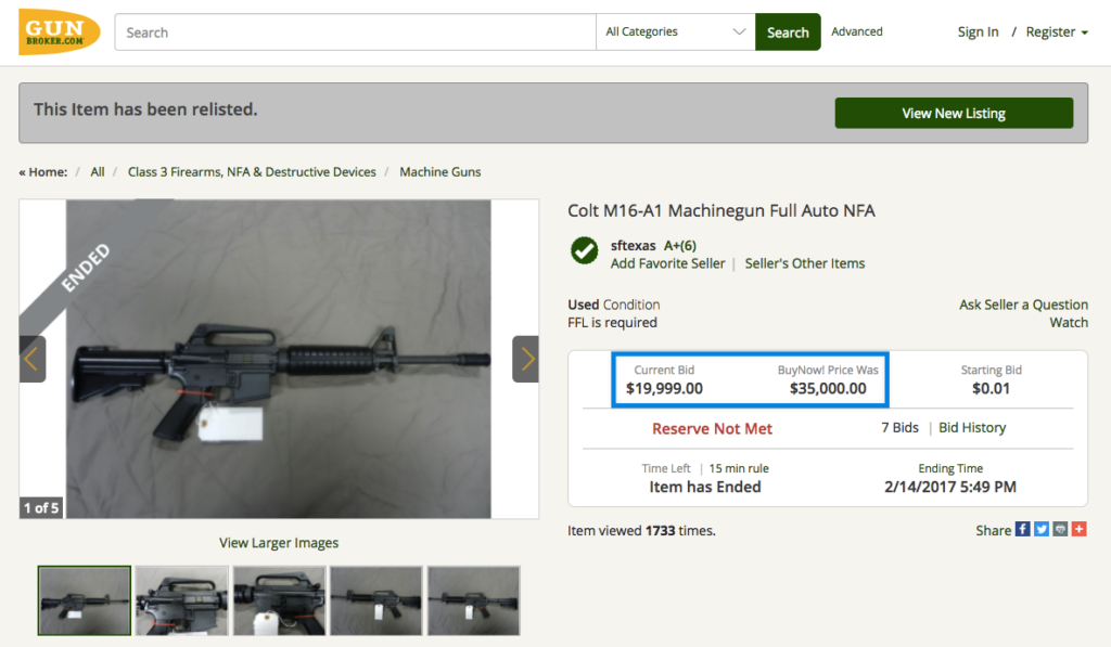 Full Auto Colt M-16 Auction