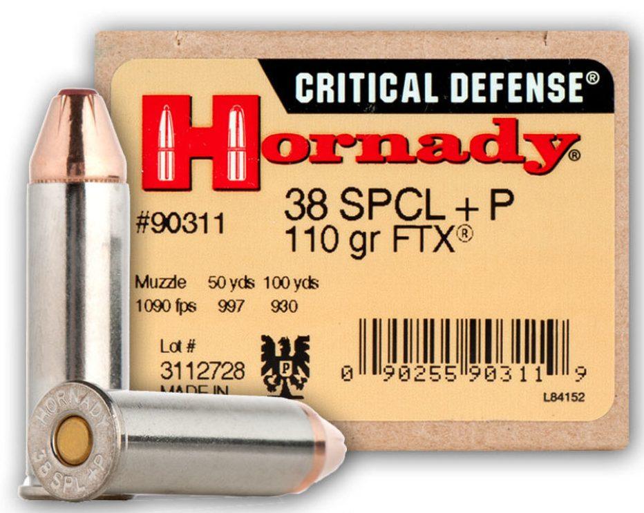 Hornady Critical Defense .38 Special +P 110 Grain JHP FTX.