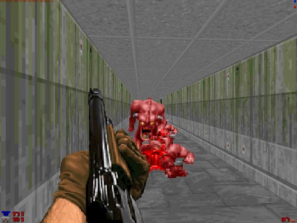 Doom shotgun versus demon