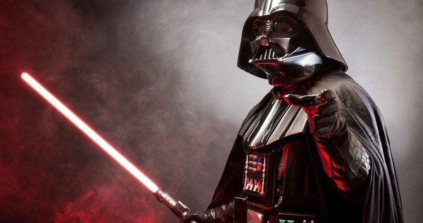 Darth Vader with saber.