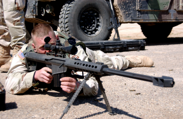 sniper with .50 cal