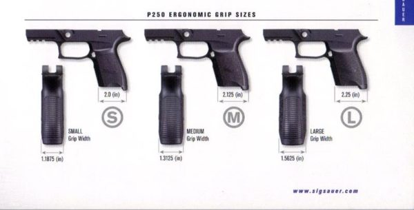 Sig P250 Grip Frame Sizes