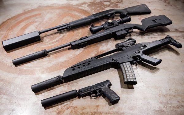 various guns with silencers