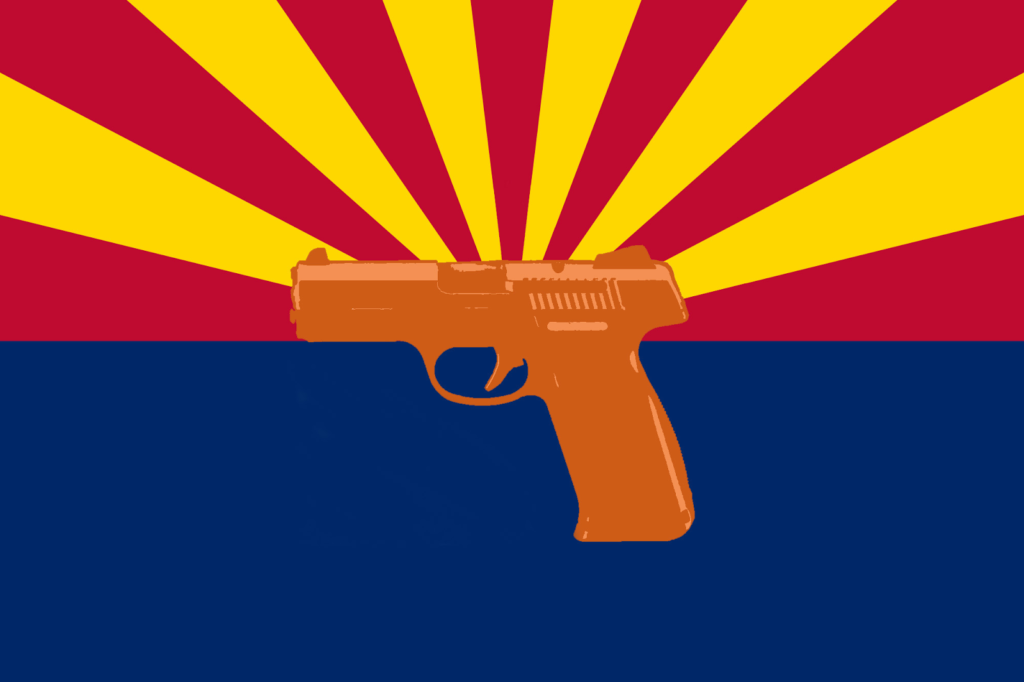 Arizona state flag with handgun