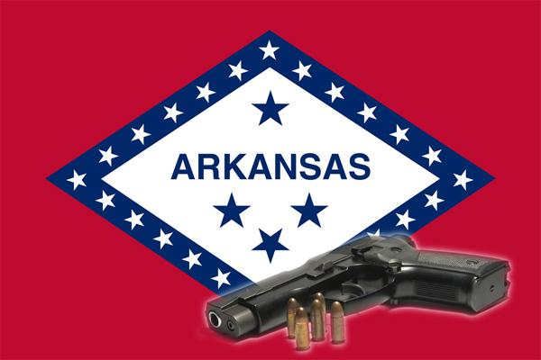 Arkansas state flag with a handgun
