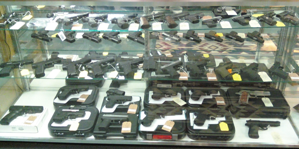 Handgun display in store