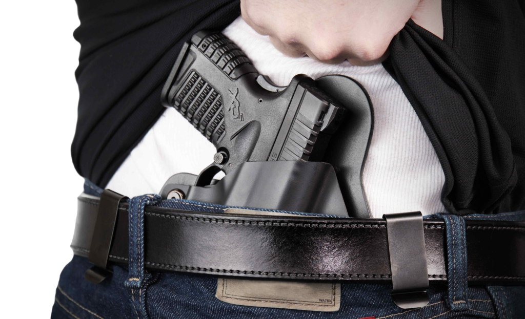 Pistol in concealed carry waist holster