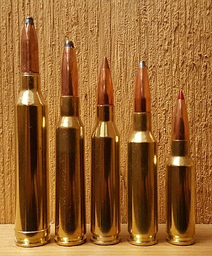 Size comparison of some 6.5mm cartridges, left to right: .264 Winchester Magnum, 6.5×55mm Swedish, .260 Remington, 6.5mm Creedmoor, 6.5mm Grendel