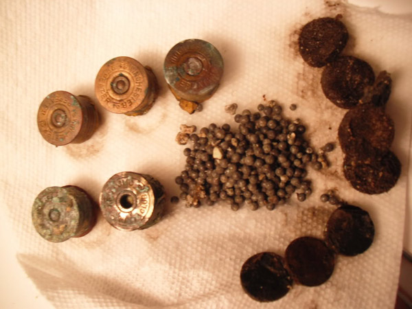 Corroded shotgun shell parts