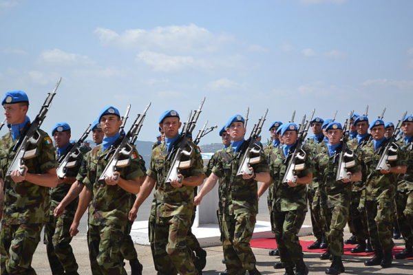 UN Peackeeping troops Irish Army marching with Steyr AUG rifles