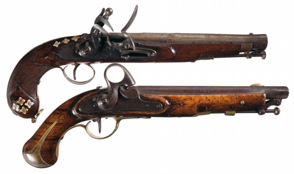 Pair of antique flintlock pistols
