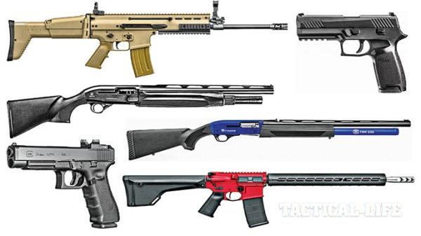 Variety of firearms for 3 gun competition