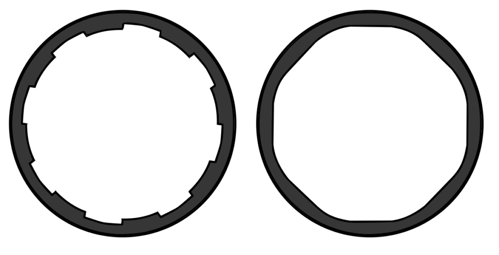 Conventional rifling (left) and polygonal rifling (right)