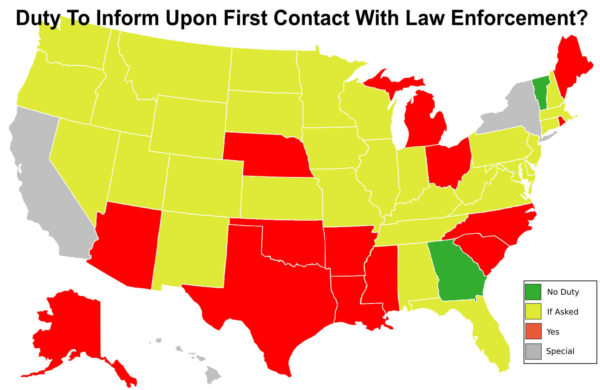 Duty to Inform Law Enforcement Map