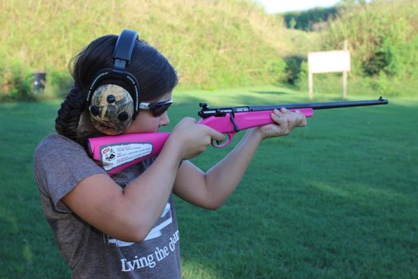 Girl shooting .22 rifle