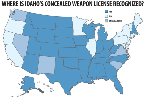 Idaho CCW reciprocity map with both CWP and E-CWP
