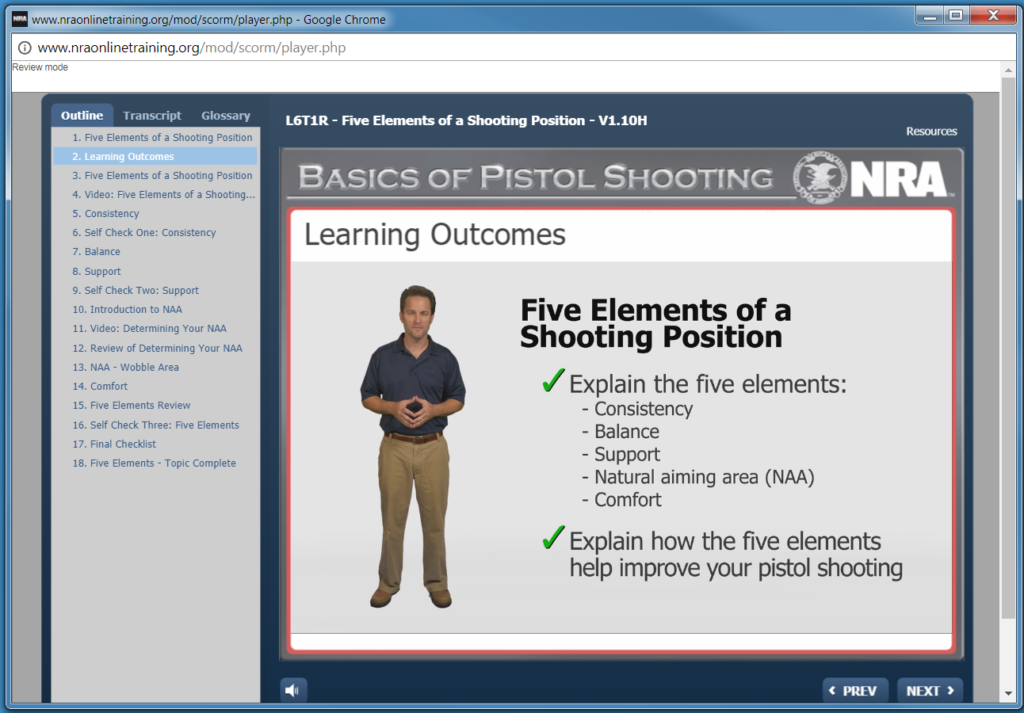NRA Basic Pistol, Screencap