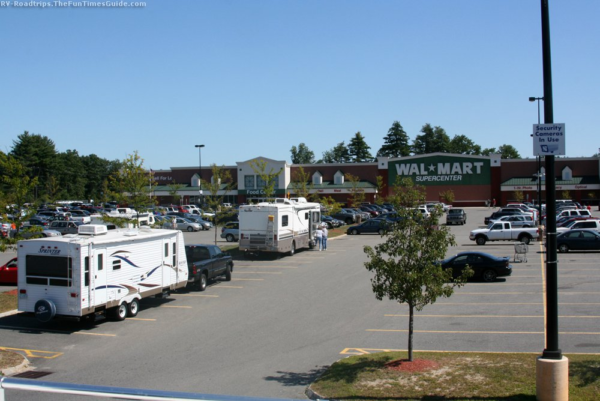 RVs boondocking in Walmart parking lot