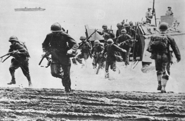 Rushing Normandy Beach on D-Day in WWII
