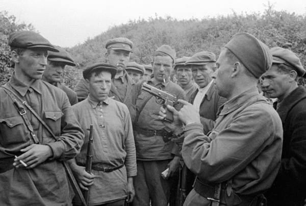 Soldiers Training in the Use of the Browning Hi-Power during World War II