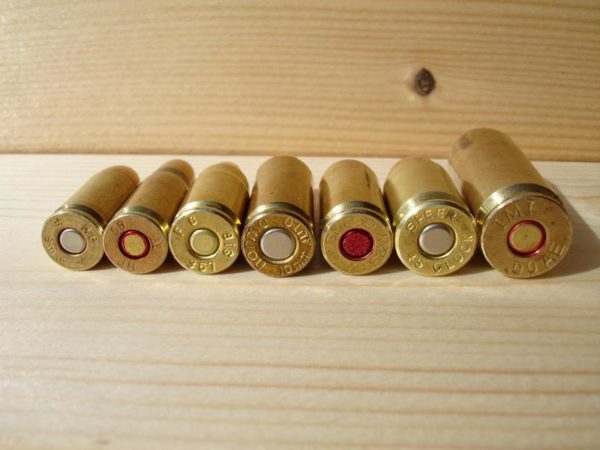 From Left to Right: 9mm, 7.62, .357, 10mm Auto, .40 S&W, .45 ACP, .50