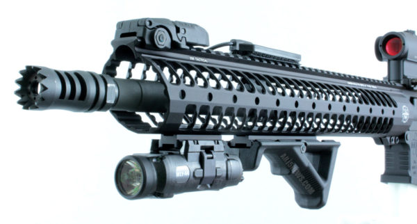 AR with Picatinny rails and accessories