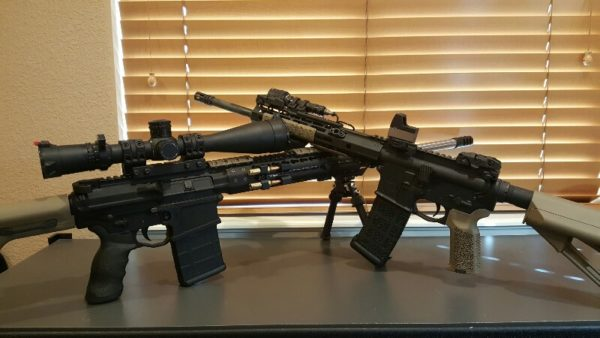 ARs with KeyMod (Left) and M-LOK (Right) Rail Systems