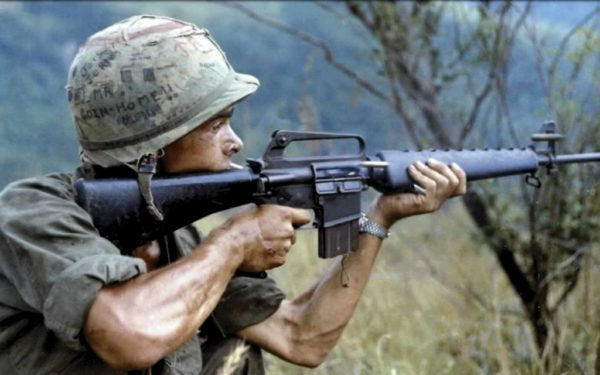 M16 Being Used in the Vietnam War