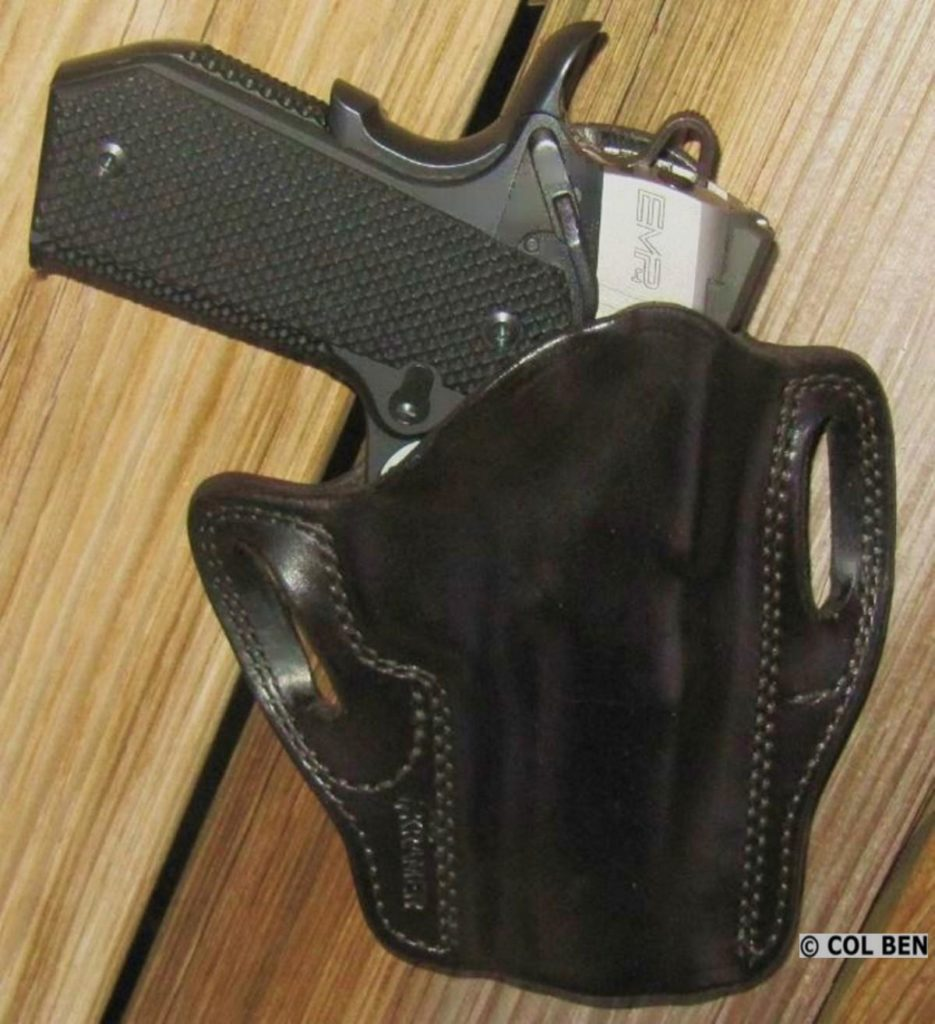 Trigger Covered by Custom Leather Holster for Springfield EMP4 Contour 9mm Pistol