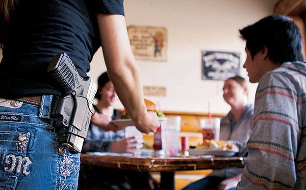 Waitress carrying pistol