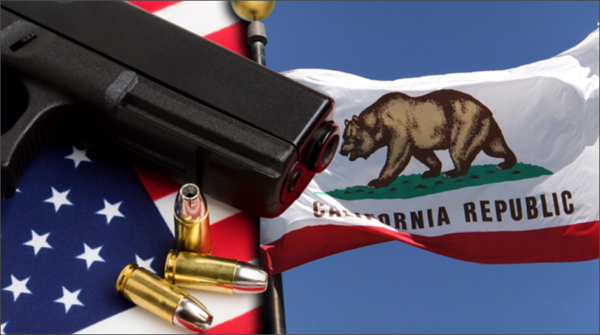California State flag with pistol and american flag