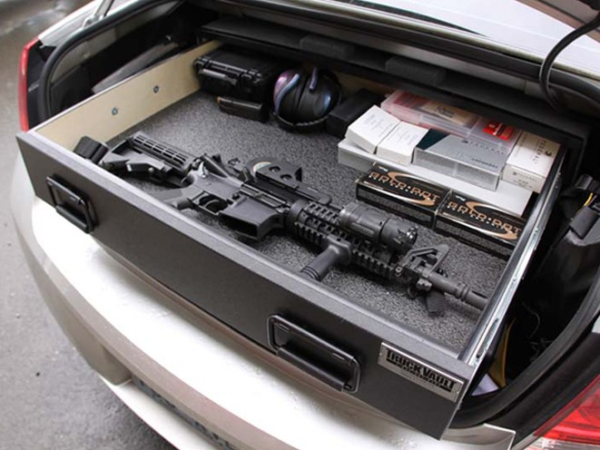 Gun vault in trunk of car