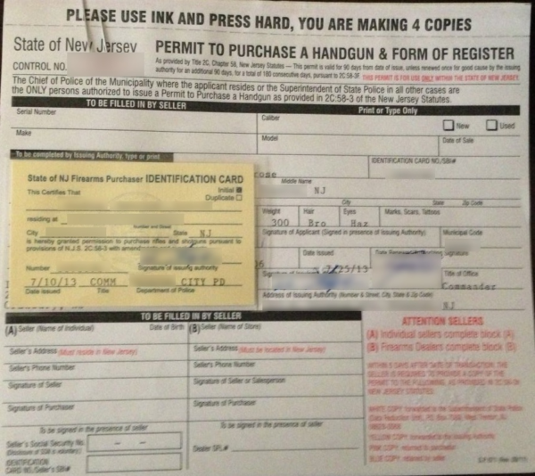 New Jersey Purchase Permit Application
