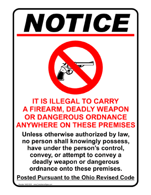 Ohio firearms prohibition sign