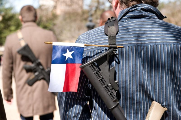 Texas flag on a rifle strap