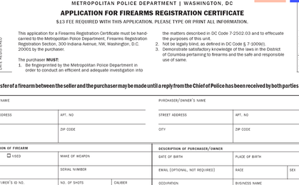 Washington DC application for firearms registration certificate