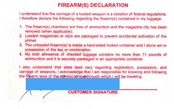 Firearm Declaration Slip