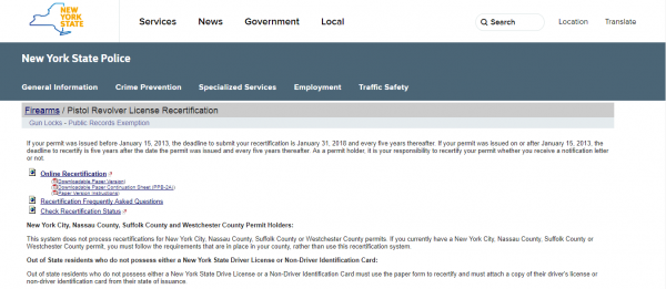 Pistol Permit Recertification Portal