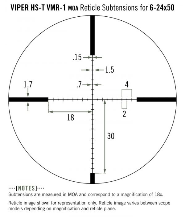 Reticle Subtension Detail for Viper HST 6-24x50 with VMR-1 MOA Reticle