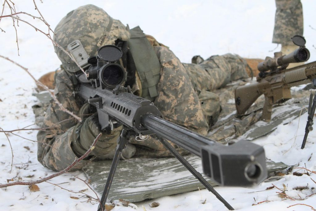 US Army Sniper in snow with M82