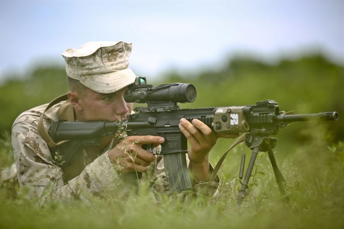 USMC using AR15 with Harris bipod