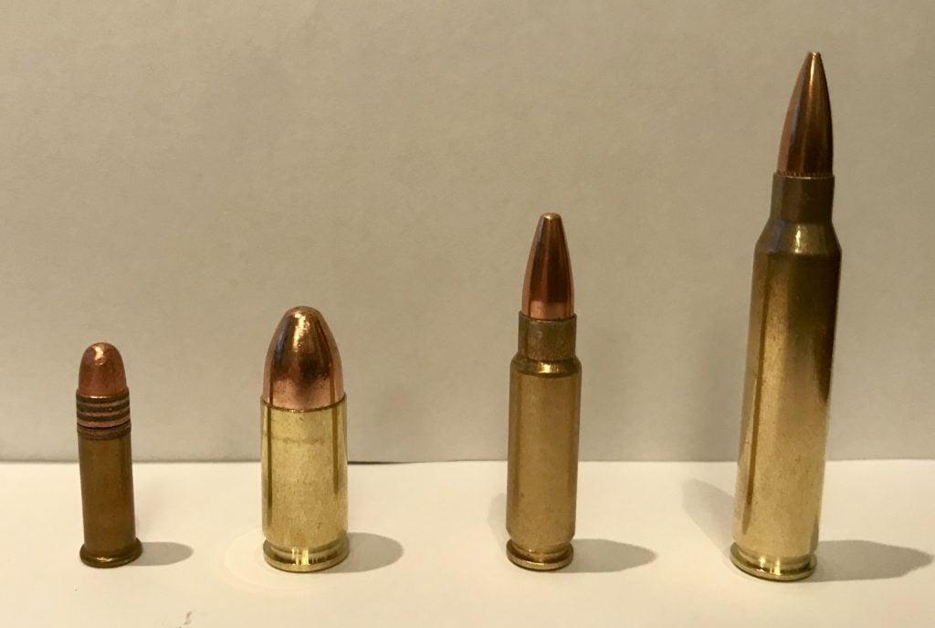 (L to R) 22LR, 9mm, 5.7x28, 5.56 NATO