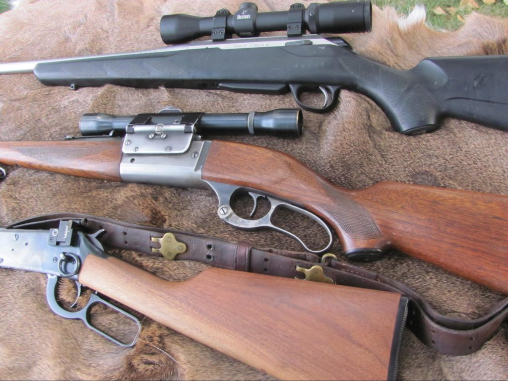 (top to bottom) Tikka T3 Lite .308, Savage Model 99 .300 Savage, Winchester Model 94 Trapper .30-30