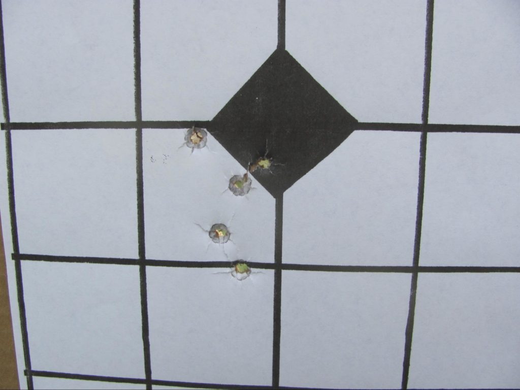 I tended to pull groups a little low and to the left at 5 yards