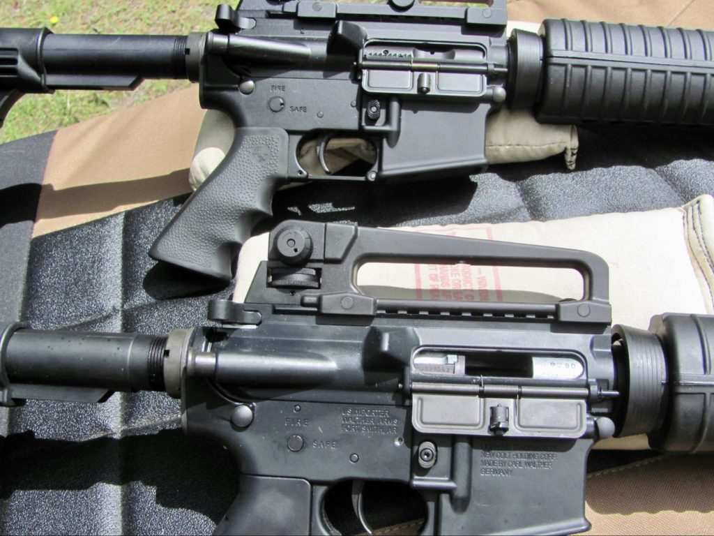 5.56 AR-15 (Top) Colt M4 in .22 LR (Bottom)