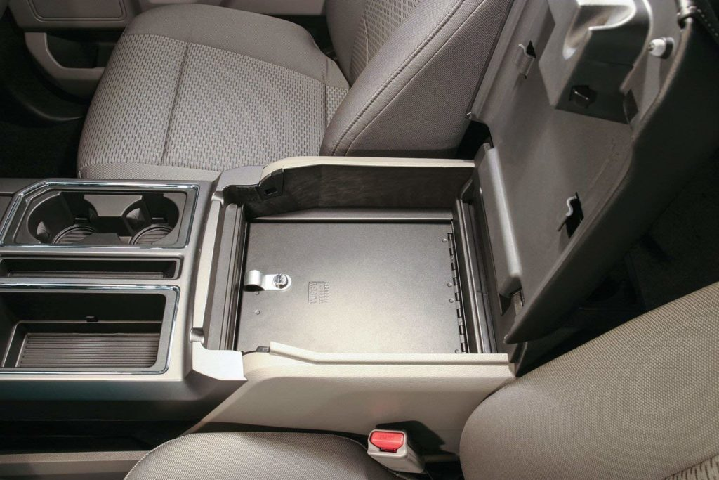 Console vault in a Ford F-150